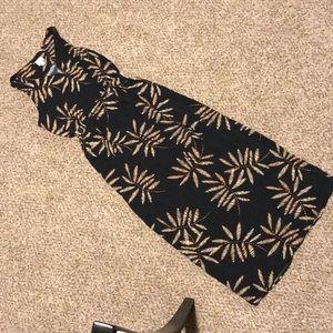 Long black palm tree maxi dress beach